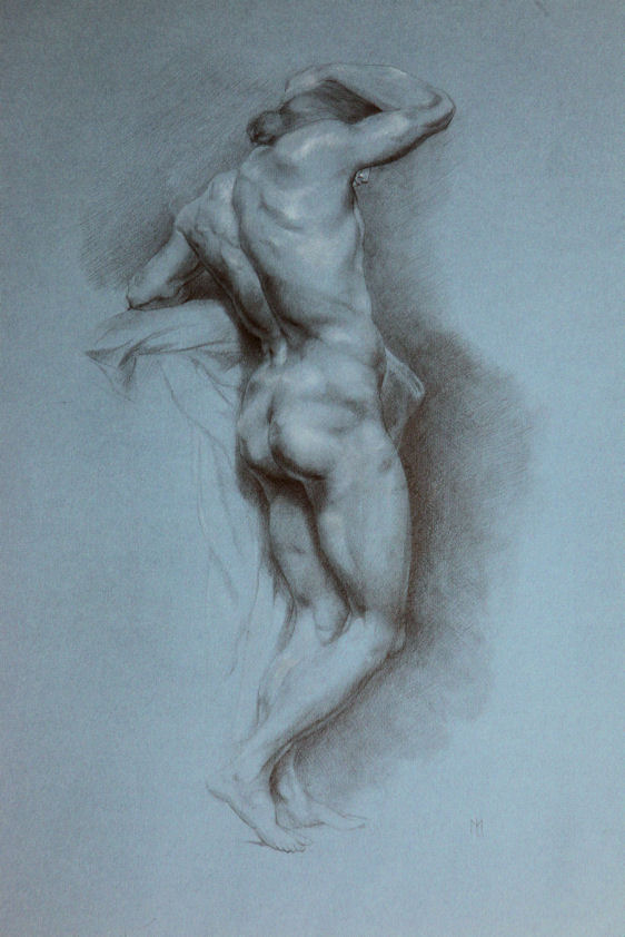 pencil and white cryon on paper